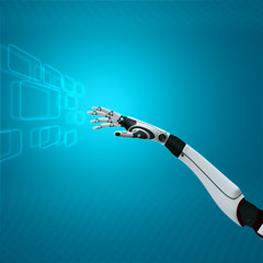 cybernetic interface on abstract background sci-fi robot hand working with virtual keyboard