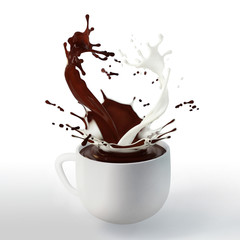 brown chocolate and white cream milk splashes in porcelain cup isolated on white