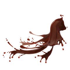 splash of brownish hot coffee or chocolate isolated on white background