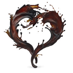 Design element. Brown coffee and white cream milk splashes moving to each other in shape of heart as symbol of love