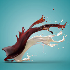 Design element. Brown coffee and white cream milk splashes spreading moving up