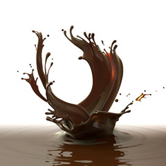 Sweet chocolate design element isolated on white background. Brown coffee splashes in a shape of crown