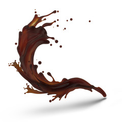 Design element. Brown coffee splash moving up isolated on white background