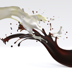 brown coffee chocolate and white cream milk splashes moving to each other