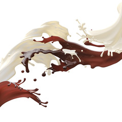 Design food element isolated on white background. Glossy brown caramel coffee chocolate and white fat cream milk splashes moving to each other