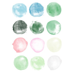 Watercolor vector set colorful hand drawn paper grain texture isolated round spots on white background for text design, web. Abstract brush paint circle shape elements for scrapbook, print, template