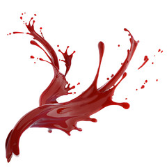 splashes of red liquid isolated on white background template