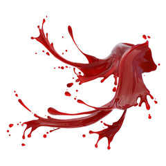 Red blood abstract splashes isolated on white background