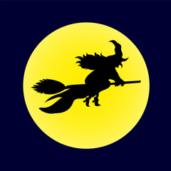 Witch on broomstick yellow moon
