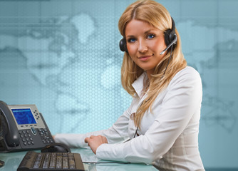 online suport call center attractive blue eyed blonde talking hands free device