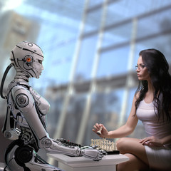 Fembot Robot Playing Chess with Woman