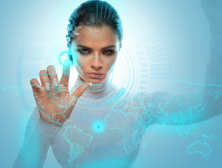 Image of Futuristic Attractive Businesswoman Wearing virtual Glasses Working With Holographic Hud Against Hightech background
