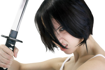 Isolated image. Anime stylized brunettel with short hair with a stern look holding by two hands a sword katana