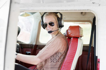 woman in a helicopter