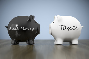 two piggy banks with the words black money and taxes