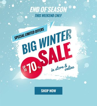 Big winter sale dynamic banner.Sale poster with brush strokes.    Vector illustration.