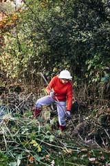 Woman cleaning garden in autumn