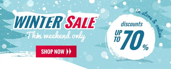 Big winter sale horizontal banner. Snowy background with winter landscape. Vector illustration
