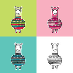 Cute and fun alpaca multi-colored vector illustration with a patterned jumper in various colors.