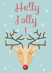 Vector illustration. Christmas, New Year's card template. Hand drawn Holly jolly wishes and deer.