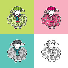 Cute and fun sheep multi-colored vector illustration with a striped scarf and swirls in various colors.