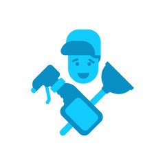 Cleaning service logo. rubber plunger and cleaning agent. cleanup emblem