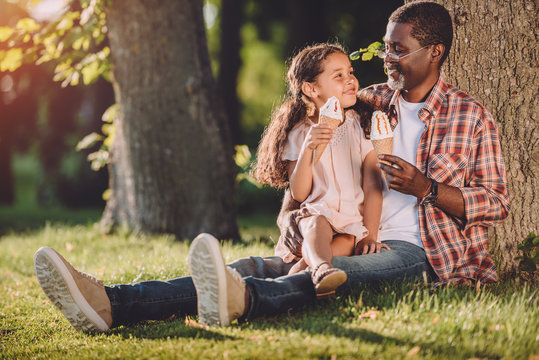 happy african american granddaughter and grandfather eating ice cream in cones while sitting on grass in park