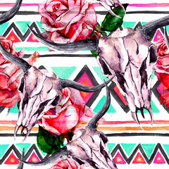 Tribal pattern - animal skull. Seamless background with trendy tribal design. Watercolor