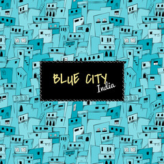 Seamless pattern of blue city in India. Vector background