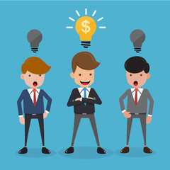 Businessman in Suit Have Good Idea For Business. Concept Business Vector Illustration Flat Style.