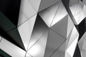 Black, white and silver abstract polygonal pattern background