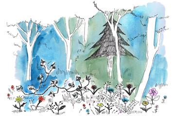 Fotobehang Schilderingen 真夜中の森を散歩 Walk in the midnight forest