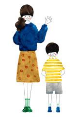 送り迎えする母と息子 Mother and son to pick up