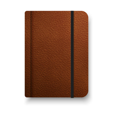 Realistic brown notebook with black elastic band. Top view diary template. Vector notepad mockup. Closed diary.