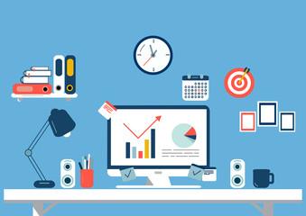 Set of flat design elements, illustration of workspace. Vector