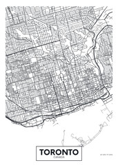Detailed vector poster city map Toronto