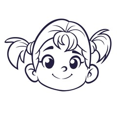 Cartoon cute girl face outlined. Vector illustration of a small girl