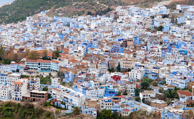 Panorama of Chefchaouen blue town in Morocco, Africa