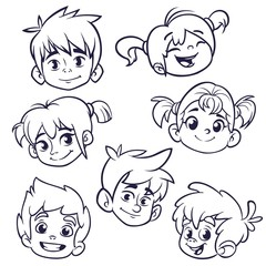 Cartoon child face icons. Vector set of childrens or teenagers heads outlined. Cutout illustration