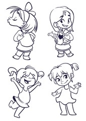 Cartoon small girls set. Vector  illustration of outlined cartoon girls dancing, kissing, presenting. Illustrations for coloring book