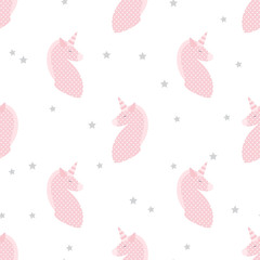 Unicorns in patchwork style seamless vector pattern