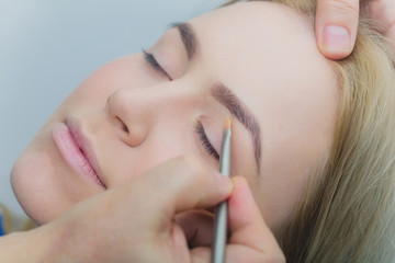 Girl with closed eyes getting makeup on eyelids