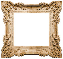 Ancient frame on white