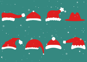 Santa Claus red hat silhouette isolated on background. Santa head hat vector.