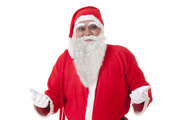 Front view of Santa Claus over white background