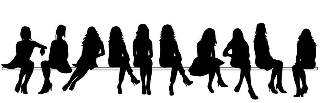 Vector, silhouette of sitting girls set