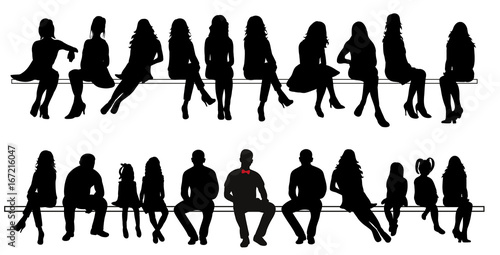 Quot Vector Silhouette Of Sitting People Set Quot Im 225 Genes De
