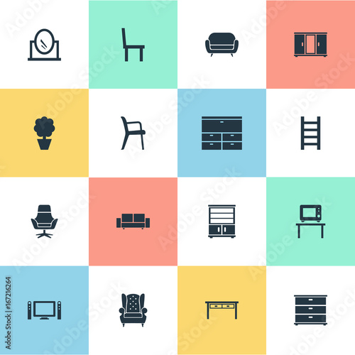 Vector Illustration Set Of Simple Furniture Icons. Elements Looking Glass,  Office Interior,