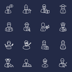Set Of 16 Job Outline Icons Set.Collection Of Banker, Policeman, Doctor And Other Elements.