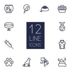 Set Of 12 Mammal Outline Icons Set.Collection Of Carries, Aquarium, Pile Of Poo And Other Elements.
